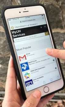 Image of an iphone with the various online resources available to students displayed